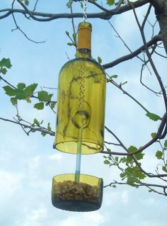 Yellow Wine Bottle Bird Feeder by GroovyGreenGlass on Etsy, $25.00