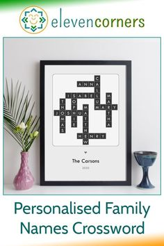 Personalised family names crossword print - custom crossword. Send us the names, we do the crossword design. A unique, personal family home decor gift idea. Family word art for your home. #elevencorners #family #crosswords #giftidea #homedecor Personalised Gifts For Mum, Personalised Prints, Personalized Wall Art, Handmade Gifts, Family Christmas Gifts, Family Gifts, Family Names, Family Wall Art, Name Wall Art