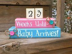 Items similar to Countdown. Aqua and Pink. Weeks Until We're Due. Baby Countdown, Pregnancy Countdown, Third Baby, Baby Blocks, Baby On The Way, Pregnancy Photos, Maternity Photos, Baby Time, Summer Baby