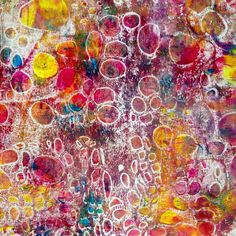 I have happily spent the day printing papers and fabrics on my Gelli Plate using the Cell Theory Stencil - Jill Berry
