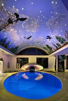 Planning on building your own indoor pools on your home? Then you will need some inspirations and ideas, let's take a look at these pictures of indoor pools below. Indoor Swimming Pools, Swimming Pool Designs, Lap Swimming, Pools Inground, Luxury Swimming Pools, Amazing Swimming Pools, Swimming Pool House, Ceiling Murals, Sky Ceiling