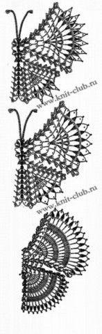Вязаные бабочки крючком. Схемы