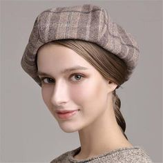 2a2d4dcd Red plaid beret hat for women autumn winter wool french beret hats