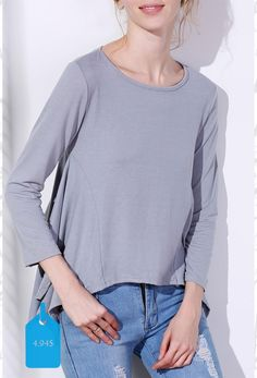 Fashionable Solid Color Scoop Neck Asymmetric T-Shirt For Women