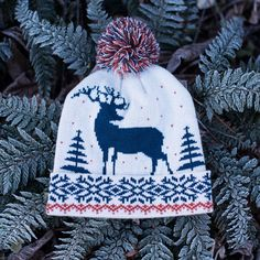 Price: Modern winter hat with animal pattern and pompom. It's lined inside so it's comfortable and warm. Knee High Stockings, Lady Stockings, Angora Bunny, Elastic Ribbon, Patterned Tights, Caps For Women, Stuffed Animal Patterns, Knitted Hats, Winter Hats