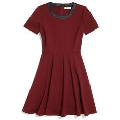 MADEWELL Leather-Trim Dress (135 AUD) ❤ liked on Polyvore featuring dresses, vestidos, short dresses, red, dusty burgundy, night out dresses, red cocktail dress, short red cocktail dress, short red dress and red mini dress