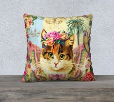 Cute Kitten with Vintage Flowers Pillow Cover, Vintage Flowers, Large Pillow, Accent Cushion, Upholstery Velveteen, Sofa Pillow, Home Decor