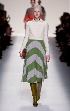 @roressclothes clothing ideas #women fashion white top, midi skirt Valentino Fall 2014