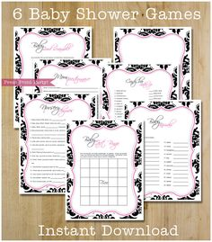 Baby Shower Game Pack - Black and Hot Pink Damask Printables