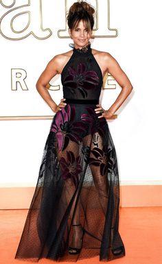 Halle Berry in a black sheer Elie Saab halter dress