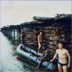 """Angolan and Soviet combat engineers repair a bridge over the River """"Kuito"""" [sic] a week after it was sabotaged. Dated sometime in April 1987."""