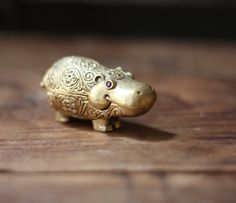 Rare Vintage Brass Hippo Shaped Max Factor Perfume Locket Pill Box Compact on Etsy, $68.00