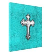 Teal Metal Cross Canvas Prints