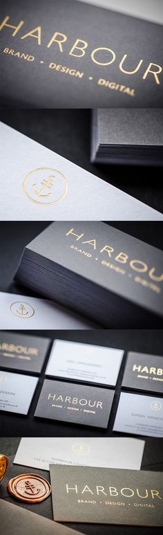 This set of business cards has a stylish and professional look brought on by a combination of minimalist styling, controlled use of gold foiling and a black and white colour scheme. Business Card Maker, Metal Business Cards, Letterhead Design, Stationery Design, Design Digital, Name Card Design, Event Logo, Promotional Design, Types Of Lettering