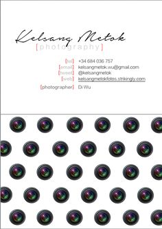 Lens Polka dots!  Photographer Name Card.   Designed by Kelsang Metok.