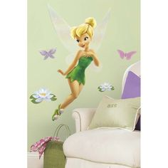 If your little girl loves Tinker Bell's playful ways, this is the wall decal for her! This magical wall decal of Tinker Bell has special glittery wings that give the design a special touch. A great pick for a Tink-themed bedroom or play area! | eBay!