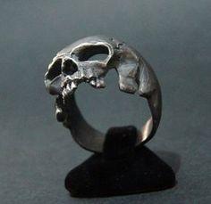 Increíble anillo de calavera de plata Harley Biker masónica a