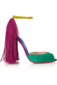 Christian Louboutin Otrot 120 fringed color-block suede sandals | NET-A-PORTER
