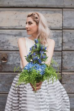 blue and green bouquet