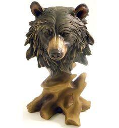 Black Bear Bust Sculpture