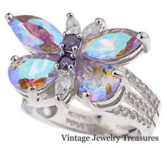 Kirks Folly Monarch Dream Lavender Butterfly Crystal Silver Tone Ring Size 8