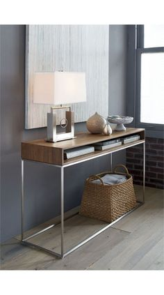 Frame Console Table Frame Console Table Source by crateandbarrel Hallway Table Decor, Entry Tables, Entryway Decor, Modern Entryway, Entryway Ideas, Bedroom Decor, Entryway Lighting, Entryway Console, Entry Foyer