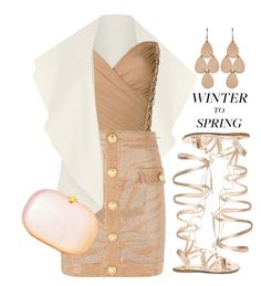 """Winter to Spring"" by juliehooper ❤ liked on Polyvore featuring Gianvito Rossi, WearAll, Balmain, Irene Neuwirth, balmain and Wintertospring"