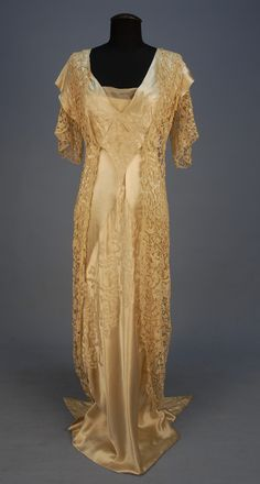 Beaded satin and lace gown with hobble skirt ca. 1913