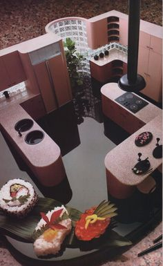 interior hilarious kitchen model with shiny floors, glass brick, and sushipalmandlaserFrom The International Collection of Interior Design 80s Interior Design, 1980s Interior, Mid-century Interior, Classic Interior, Kitchen Interior, Interior Design Living Room, Interior Decorating, Design Interiors, Decorating Tips