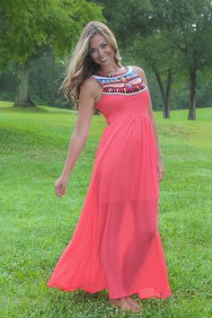 Hand Me My Crown Maxi Dress- Coral