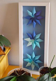 Quadro origami Lotus Origami, Origami Stars, Origami Design, Star Decorations, Class Projects, Project Ideas, Paper Art, Cricut, Ford
