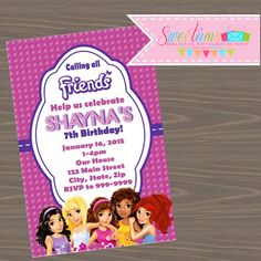 Invite your guests to build a great party with our Lego Friends party invitations DIGITAL FILE Lego Friends Birthday, Lego Friends Party, 9th Birthday Parties, Lego Birthday, Birthday Ideas, Happy Birthday, Lego Invitations, Birthday Party Invitations, Invites