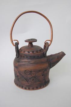 Stoneware Teapot Steampunk ceramic pottery in brown with copper handle  by:-jburkepottery