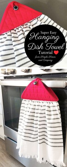 Cute Farmhouse Style Kitchen Towel Tutorial, How to make a hanging dish towel. Great DIY kitchen ideas Create your own farmhouse style hanging kitchen towels with this simple tutorial. They make great DIY gifts for the holidays! Sewing Hacks, Sewing Tutorials, Sewing Crafts, Sewing Tips, Sewing Ideas, Diy Gifts Sewing, Tutorial Sewing, Dress Tutorials, Leftover Fabric