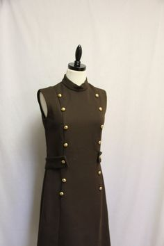 Vintage Dress 1960s Dark Brown Sgt Peppers Lonely Heart Club Band Military Style Frock  by VintageStylez