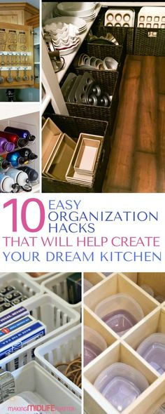 10 Easy Kitchen Organization Hacks These 10 pantry organization hacks are THE BEST. Create your dream kitchen that will look less cluttered and that you will WANT to cook in. via - Own Kitchen Pantry