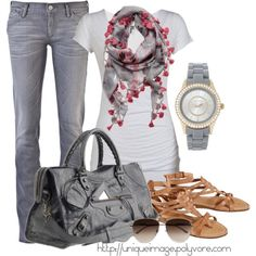 Gray Jeans, created by uniqueimage on Polyvore