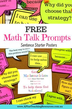 What better way to banish math anxiety than with these FREE Math Talk Poster Prompts! Perfect for Back-to-school bulletin boards! Teacher Freebies, Classroom Freebies, Math Classroom, Classroom Decor, Teacher Bulletin Boards, Back To School Bulletin Boards, Help Teaching, Teaching Math, Guided Maths