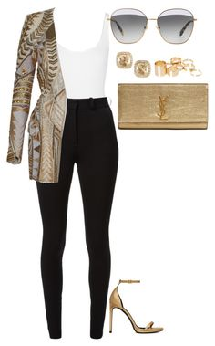 """""""Untitled #207"""" by amoney-1 ❤ liked on Polyvore featuring Wolford, Victoria Beckham, Balmain, Yves Saint Laurent, Suzanne Kalan, Miu Miu and ASOS"""