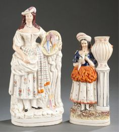 Lot 236: Group of two English Staffordshire pottery figures. Estimate: $200-$300.