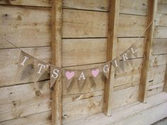 It's a girl burlap banner in white lettering, baby shower banner, photo prop, bunting, sign,. $32.00, via Etsy.