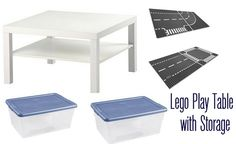 Lego / IKEA Lack - lego play table with storage (Target storage boxes for the lego).