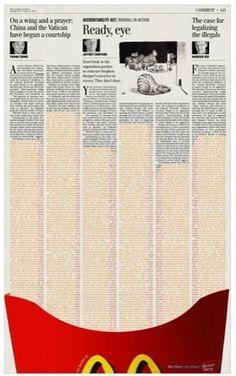 Mcdonalds- #Publicidad gráfica. Entre en el fantástico mundo de elcafeatomico.com para descubrir muchas más cosas!