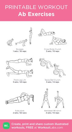Ab Exercises: my custom printable workout by @WorkoutLabs #workoutlabs #customworkout
