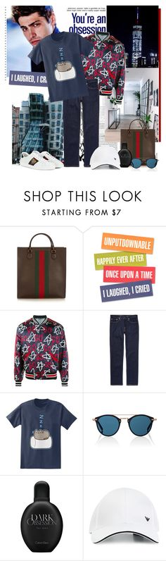 """""""Sin título #484"""" by lacaro ❤ liked on Polyvore featuring Gucci, Levi's, Pusheen, Oliver Peoples, Calvin Klein and Emporio Armani"""