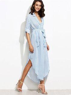 Vestido Chemise Listrado Azul e Branco - Compre Online
