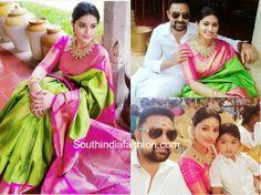 Sneha Prasanna in a green Kanjeevaram saree – South India Fashion Saree Wedding, Wedding Wear, Wedding Pics, Saree Blouse Designs, Blouse Styles, India Fashion, Women's Fashion, Green Saree, Wedding Mood Board