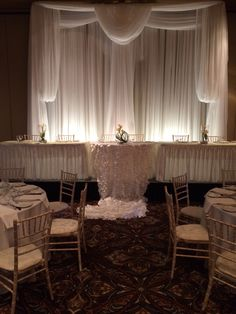 Wonderful Day for a White Wedding #white #wedding #reception #lachefs #decor #catering #swag #petal #caketable #headtable #backdrop #chiavarichair