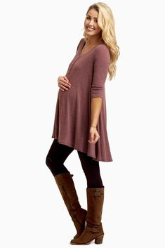 Stay stylishly warm this season in this button accent thermal maternity top. A lightweight thermal material to keep you cozy and a flowy fit to keep you comfortable. You can style this maternity thermal top with maternity leggings, boots, and a long neckl Winter Maternity Outfits, Stylish Maternity, Maternity Tops, Maternity Wear, Maternity Dresses, Maternity Fashion, Maternity Clothing, Maternity Leggings Outfit, Maternity Styles