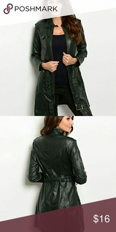 """Olive Trench Olive Faux Leather Trench Coat / 50% Polyester / 50% Cotton / 36"""" Long Ark & Co Jackets & Coats Trench Coats"""